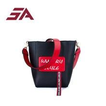 508b37e73 SA bolso de mujer con correa ancha bolsa de cubo de cuero de PU de marca de  hombro de diseñador de señoras bandolera bolsas de a.