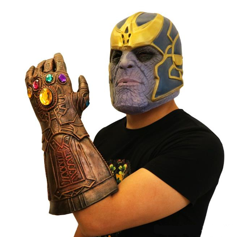 Thanos Glove Masks Infinity Gauntlet Gloves Cosplay Movie Avengers Latex Mask Prop Set