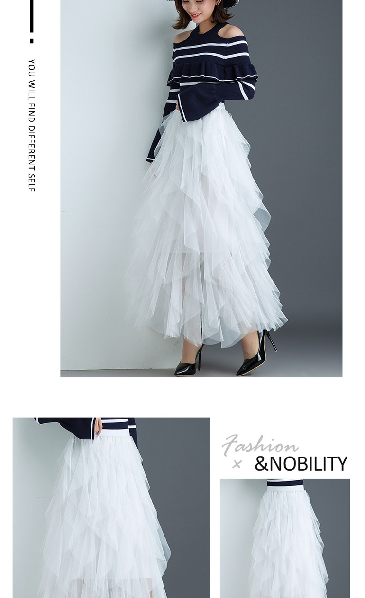 Women irregular Tulle Skirts Fashion Elastic High Waist Mesh Tutu Skirt Pleated Long Skirts Midi Skirt Saias Faldas Jupe Femmle 46