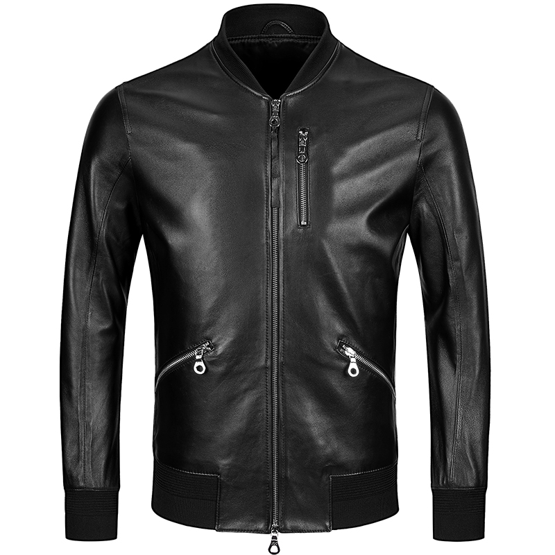 Free Shipping,mens Classic Baseball Leather Jacket,quality Genuine Sheepskin Coat.thin Soft Black Men Jackets.fashion Sales
