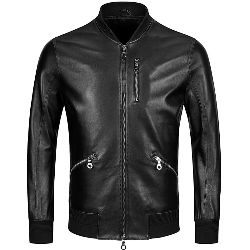 Free Shipping,mens Classic Baseball Leather Jacket,quality Genuine Sheepskin Coat.thin Soft Black Men Jackets.fashion Sales