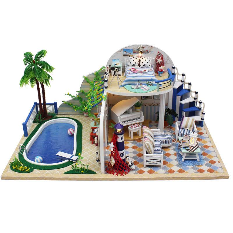Diy Doll House furniture toys for children miniature Dollhouse casa dolls Birthday Christmas Gifts Clear Summer Villa X003