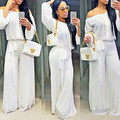 Sexy Clube Jumpsuits Verão Rompers Womens Jumpsuit Strapless Macacão Mulher Ladies Branco Romper Playsuit Longo S0244