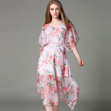 Hot Selling 2016 Summer Dresses Women Loose Casual V-neck Floral Printed Chiffon Dress Vestidos Brand Women's Clothing DR027