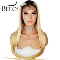 Beeos 150% Lace Front Human Hair Wigs Brazilian Natural Remy Hair Wigs Ombre Blonde Straight Lace Wig with Baby Hair Pre Plucked