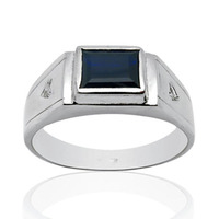 2017 anillos Кольца QI xuan_dark синий камень простой и щедрый Ring_S925 чистого серебра ring_manufacturer непосредственно продаж