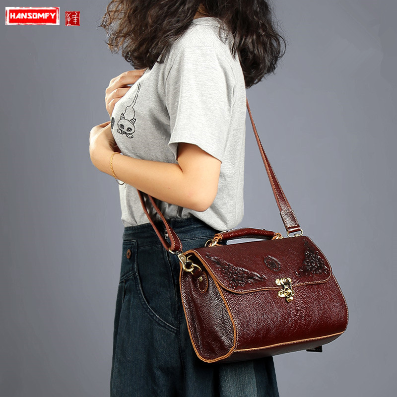Retro first layer cowhide leather Women handbags portable small lock shoulder Messenger bag fashion stereotype crossbody bagsRetro first layer cowhide leather Women handbags portable small lock shoulder Messenger bag fashion stereotype crossbody bags