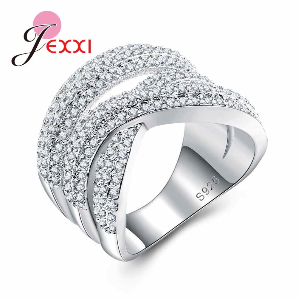 JEXXI Top Quality Wide Cross Rings with Full White Austrian Crystal Fashion Hollow Finger Ring for Women Party 925 Silver Bijoux