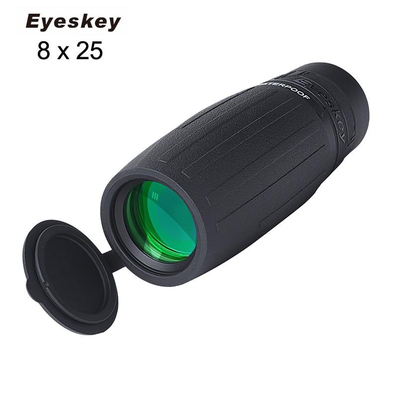 Eyeskey 8x25 Waterproof Compact Monocular for Caming Hunting Telescope Large Eyepiece Monocular with BaK4 Prism Optics