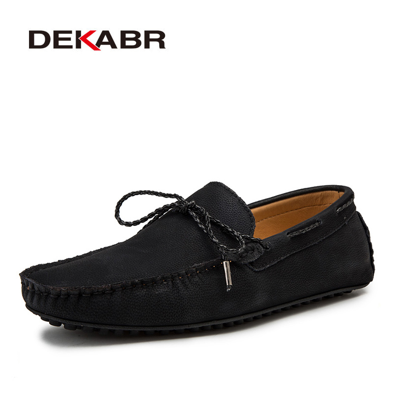 DEKABR Fashion Spring And Autumn Style Soft Moccasins Men Loafers High Quality Leather Shoes Men Flats Driving Shoes Big Size