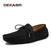 DEKABR Fashion Spring and Autumn Style Soft Moccasins Men Loafers High Quality Leather Shoes Men Flats Driving Shoes Big Size(China)