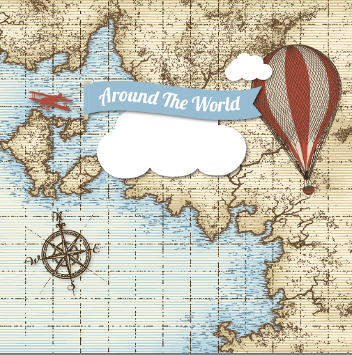 Desktop Wallpaper World Map: Old World Map Plane Air Balloons Exploring Background