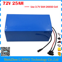 High quality 72V 25AH Scooter battery 3000W 72V 25AH Lithium Electric Bike battery 3.7V 5AH 26650 Cell 50A BMS Free customs tax