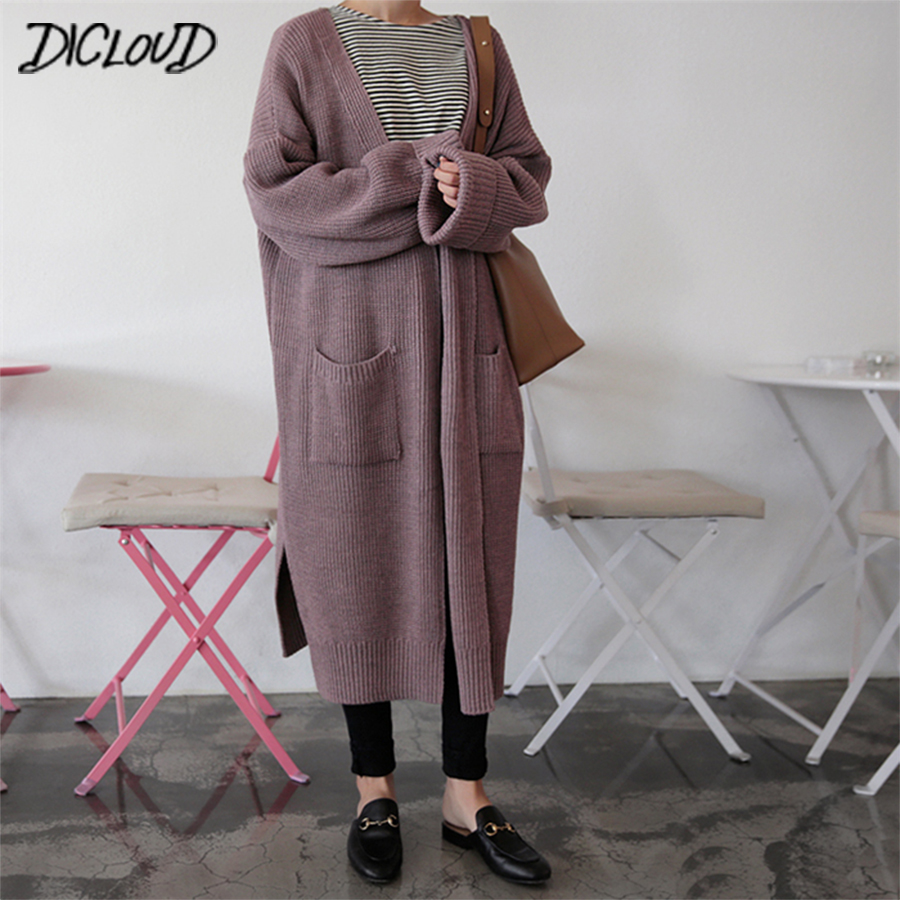 DICLOUD Fashion Long Cardigan Women 2019 Fashion Harajuku Loose Knit Sweater Women Casual Black Oversized Jacket Coat Autumn(China)