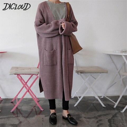 DICLOUD Fashion Long Cardigan Women 2019 Fashion Harajuku Loose Knit Sweater Women Casual Black Oversized Jacket Coat Autumn Pakistan