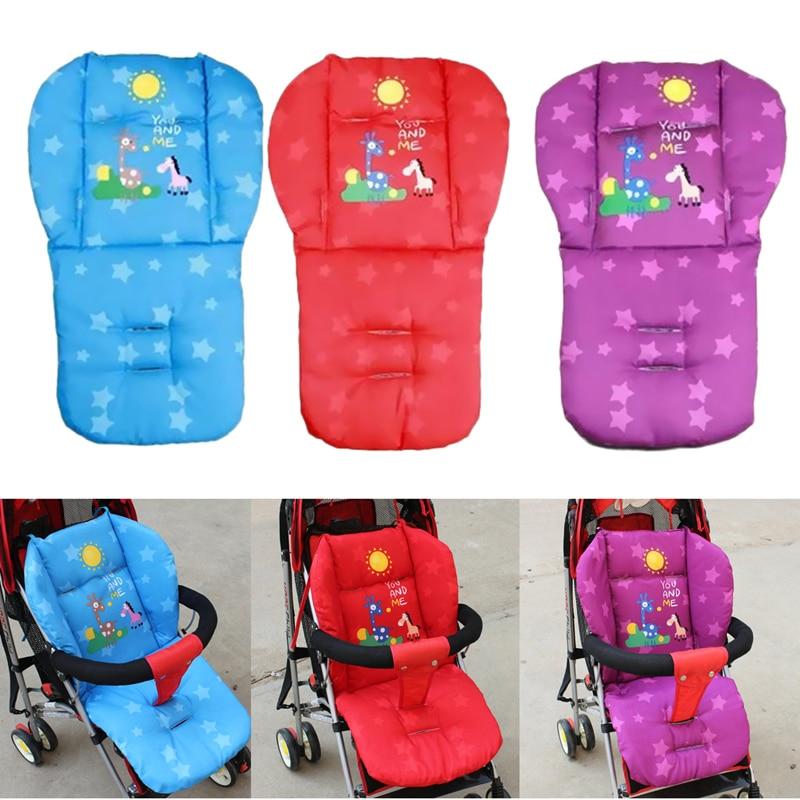 Baby Stroller Cushion Giraffe Children Cart Seat Cushion Pushchair Cotton Thick Car Seat High Chair Mat Purple/Red/Blue