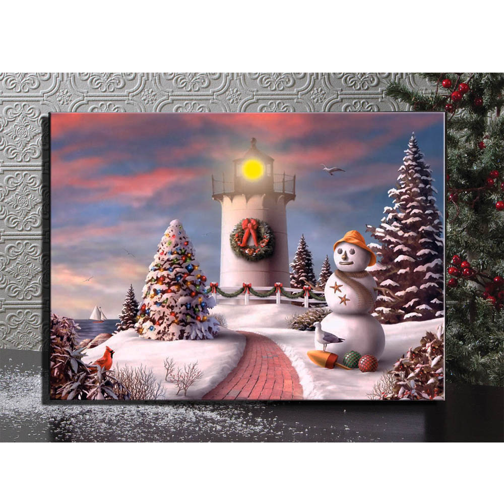 led canvas art light up illustrated lighthouse with snowman in christmas snowy winter picture wall plaques canvas painting decor