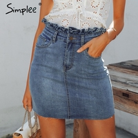 e Elegant Ruffle Denim Skirt Women Summer A Line Bodycon Female Mini Skirt Casual Streetwear Fashion Blue Jeans Skirt 2019