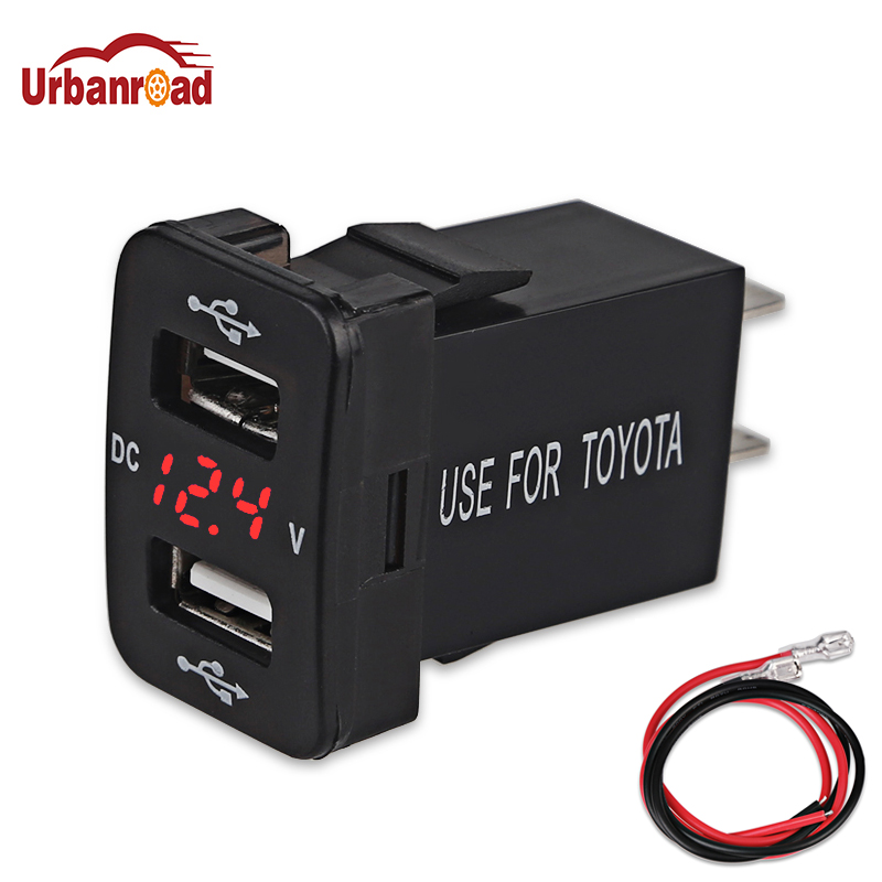 Urbanroad Dual USB Car Charger Socket Voltage Meter Voltmeter 4.2A 12V 24V Car Phone Charger For TOYOTA 3 in 1 multifunctional car digital voltmeter usb car charger led battery dc voltmeter thermometer temperature meter sensor