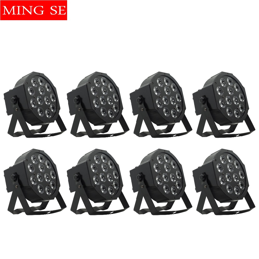 8units 12w Led  Lamp Beads 12x12W Led Par Lights RGBW 4in1 Flat Par Led Dmx512 Disco Lights Professional Stage Dj Equipment