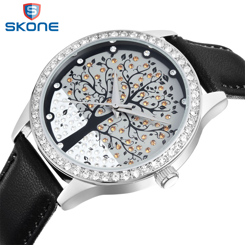 SKONE Brand Women Fashion Rhinestone Watch Tree Dail Design Quartz Clock Ladies Leather Strap Luxury Watches relogio feminino new top brand guou women watches luxury rhinestone ladies quartz watch casual fashion leather strap wristwatch relogio feminino