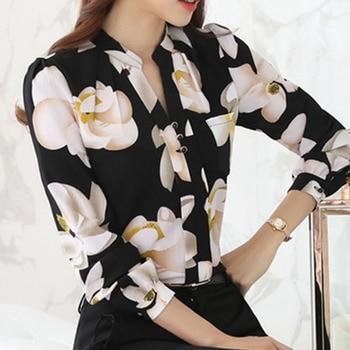 Fashion women tops 2019 ladies tops V-Neck Slim Chiffon blouse shirt Office Work Wear Women shirts Plus Size Blusas 882G 25 2