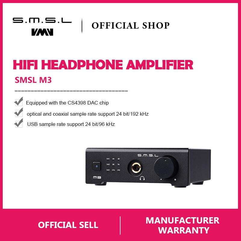 SMSL M3 USB DAC AMP Multi-funzione Ottica Coassiale Amplificatore Per Cuffie  Portatile Alimentato Via 29c1d55921f5