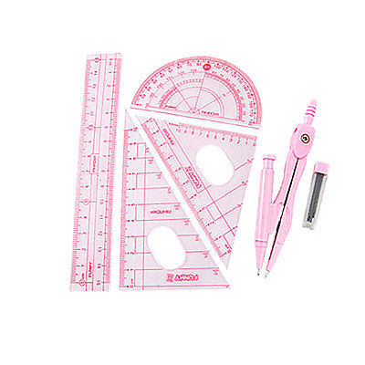 Pink Compass Set Square Centimeter Ruler Protractor New