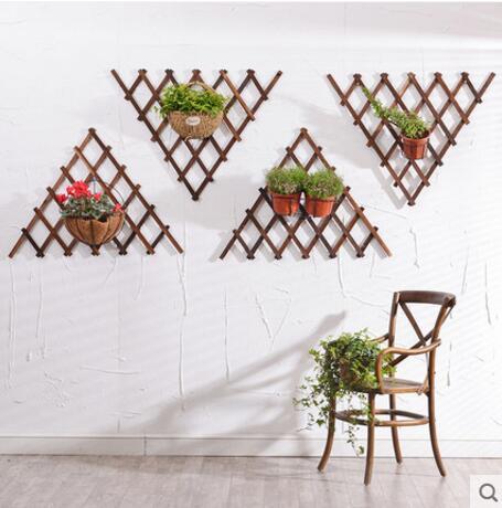 Mesh balcony hanging wall flower rack solid wood wall hanging living room green radish hanging wall iron pendant orchid pot