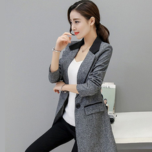 Small suit Jacket female 2017 Spring autumn Slim long style Women blazers Casual fashion Plus size Coat outerwear high quality