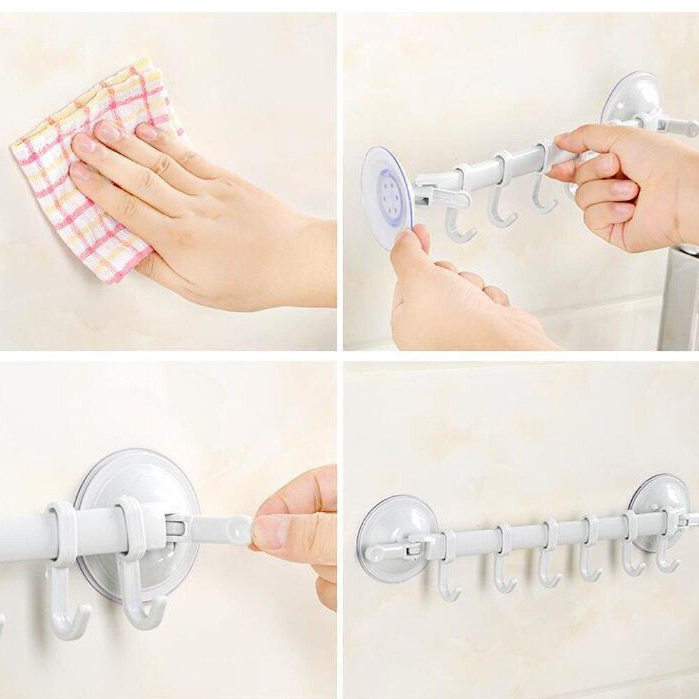 Gancho de la pared de cuarto de baño de pared de cocina de succión taza 6 gancho de la toalla de la succión de la Copa de L0503
