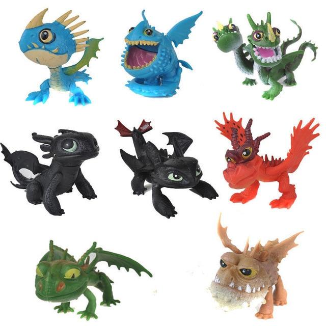 2 8 Pcs Como Treinar O Seu Dragão Fúria Da Noite Desdentado Dragão Figuras de Ação Figuras Crianças Brinquedos infantis Presente Modelo