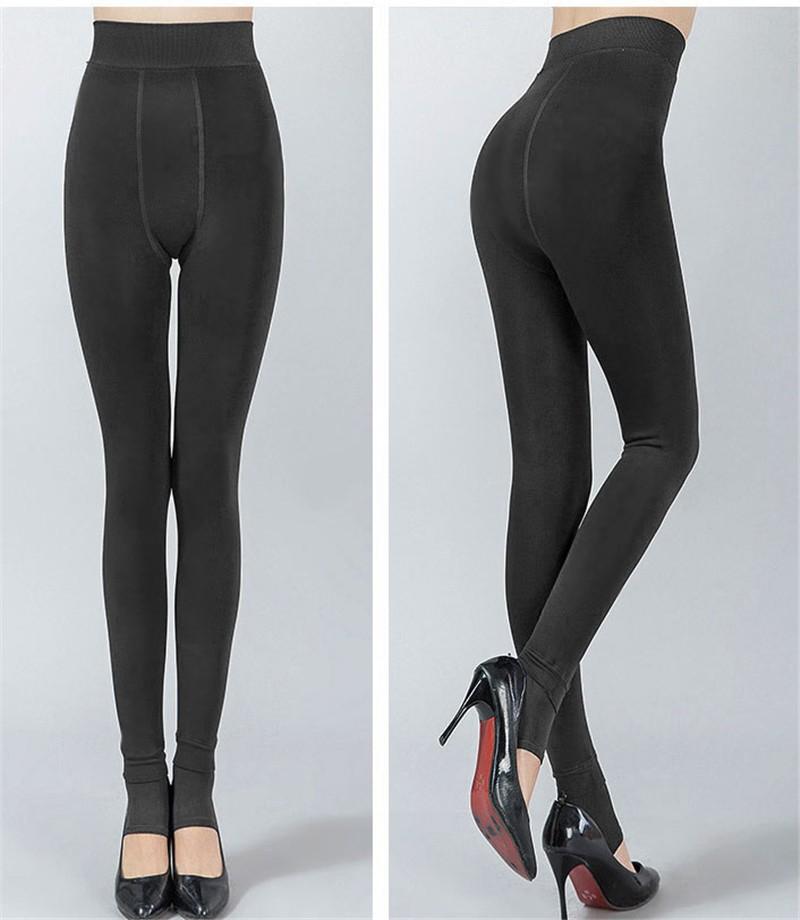 NORMOV Women's Winter Plus Cashmere Leggings Fashion Big Size Warm Super Elastic Faux Velvet Winter Thick Slim Leggings 16