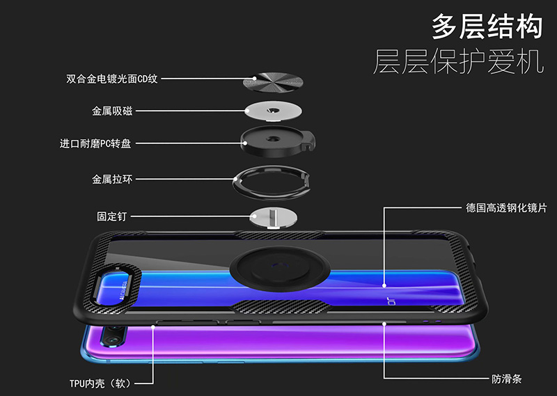 HTB1.WLSs9zqK1RjSZPcq6zTepXaB Finger Ring Kickstand Case for Huawei Honor 10 7X Play TPU Bumper Car Magnetic Acrylic Case PC Hard Cover for Honor 7X 10 Coque