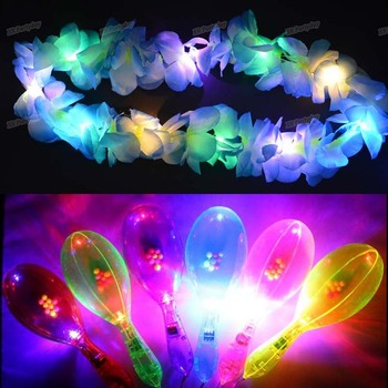 12PC Neck Leis with 12PC  Maraca / Light Hawaii Luau Party LED Glow Flower Lei Necklace Hula Garland Wreath Maraca Party Wedding