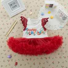 Happy Birthday Red Baby Girl Dress