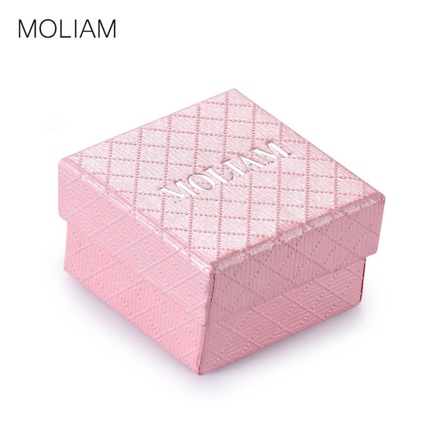 MOLIAM Luxury Brand Romantic Pink Paper Gift Boxes for Jewellery Earring Ring Display Packaging 5cm*5cm*3cm