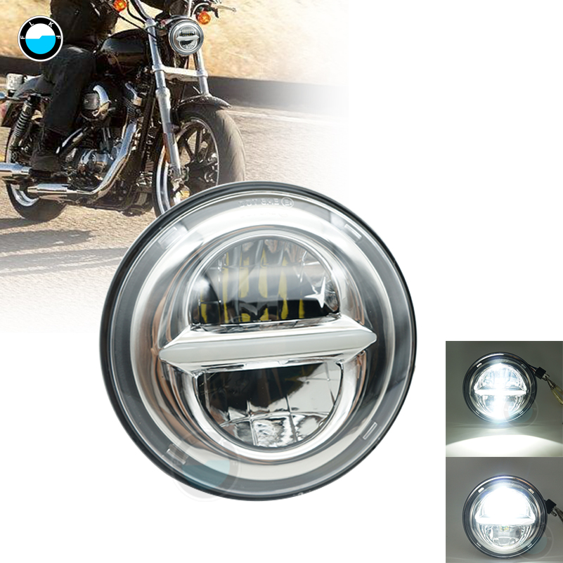New style Chrome 5.75 Inch LED Headlight 5 3/4 led DRL 50W motorbike headlights for Harley Sportster 883 XL883 FXCW. black headlight grill cover for harley sportster xl883 1200 04 up softail cover headlight covers 5 3 4