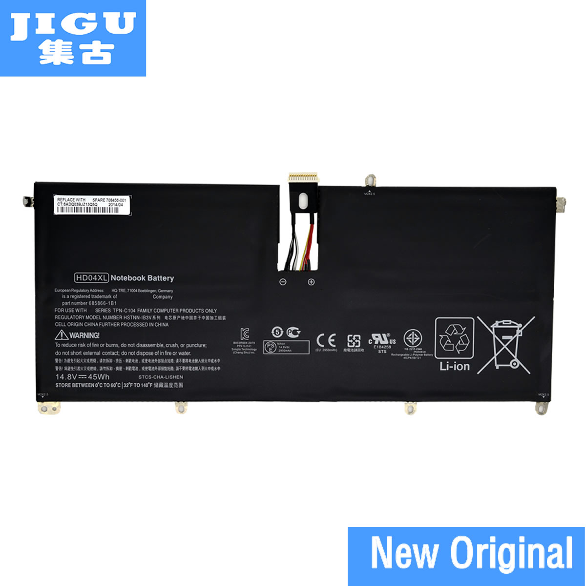 JIGU Genuine Original HD04XL Battery For Hp Envy Spectre Xt 13-2021tu Xt 13-2000eg Xt 13-2120tu 685866-1B1 685866-171 14.8V 45Wh