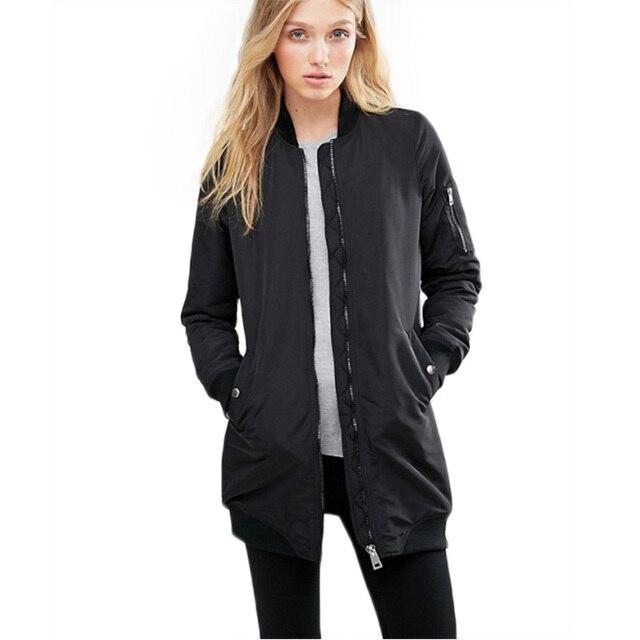 Осень зима винер парки длинные куртки и пальто 2016 женщин пальто случайные длинный участок сплошной цвет бомбардировщик куртка женщин