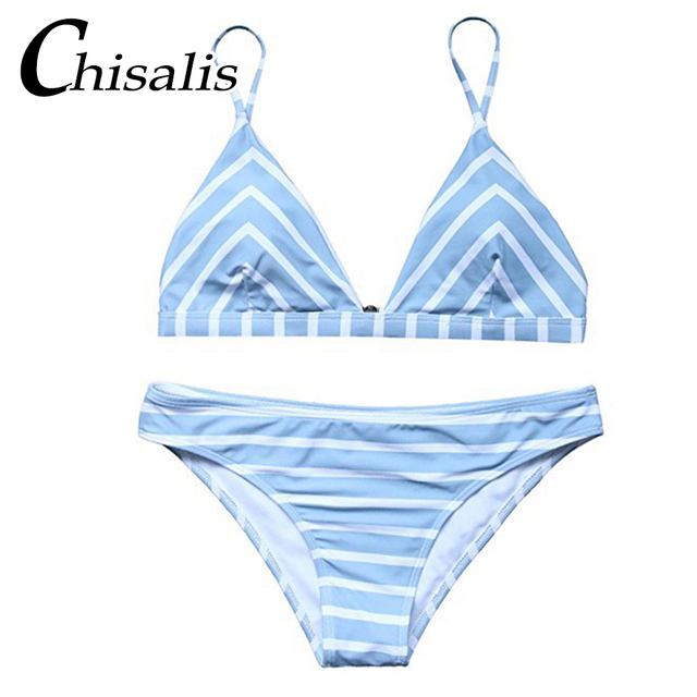 a2d0c04d58 Chisalis 2018 New Sexy Blue Striped Bikini Set Women Micro Female Bathing  Suit Swimsuit Biquini Thong Swimwear Brazilian Bikini