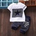 Bebé ropa de 2017 niños del verano que arropan la camiseta + pantalones traje de la ropa estrellas impreso ropa de recién nacido chándal SY118