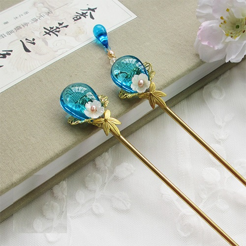 Blue Glaze Shell Flower Handmade Classical Hair Sticks Hanfu Costume Accessories Long Tassel Hair Stick 2 Piece Set crystal long tassel zanhuaji vintage classical hair stick for tv play legend of chinese empress wumeiniang handmade hair sticks