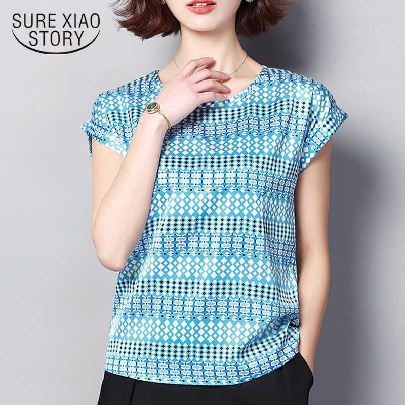 стильные женские блузки Женские топы и блузки летние новые модные шелковые блузки с принтом большие размеры рубашки 3212 50