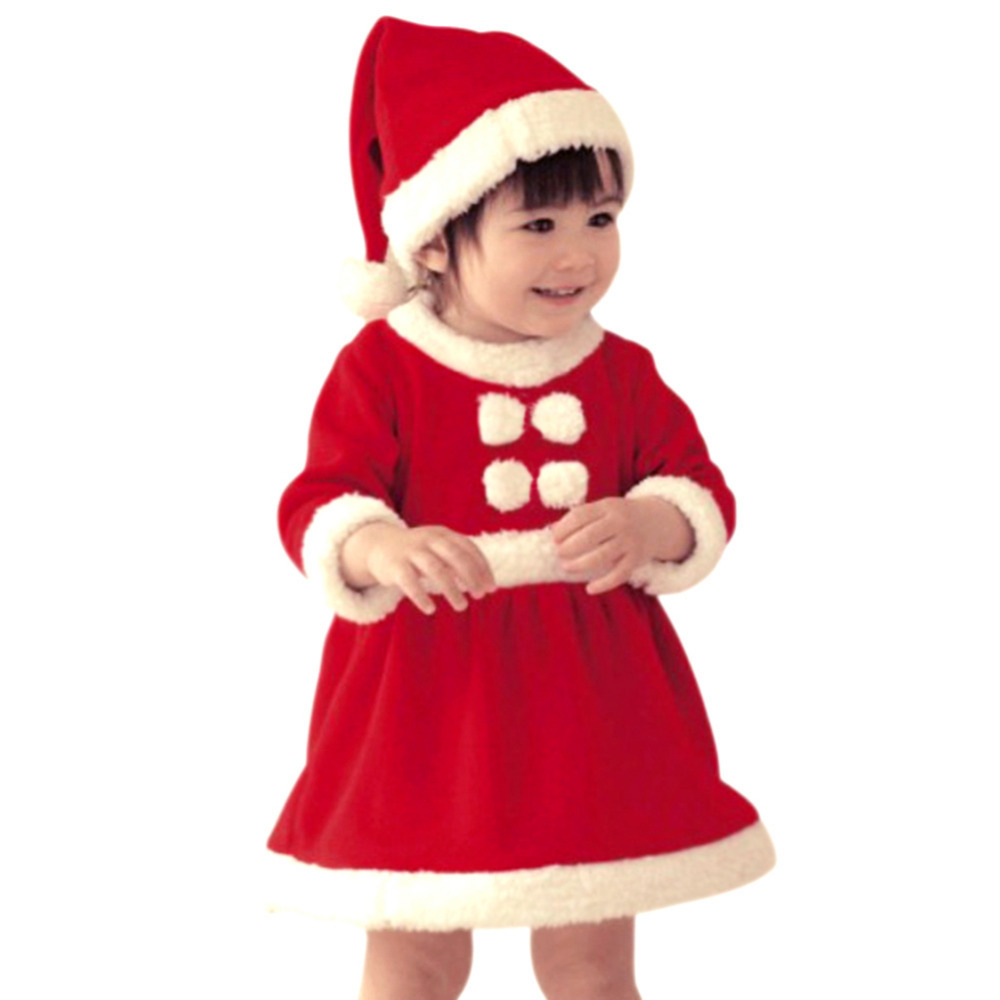 children christmas dress kid santa claus costume child christmas bodysuit baby red christmas gift girl clothes free shipping in kids costumes accessories - Santa Claus Children