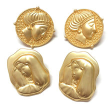 Retro Gold Color Figure Stud Earrings Classic Round Creative Virgin Mary Queen Crown Engraved Earrings For Women Jewelry Gift(China)