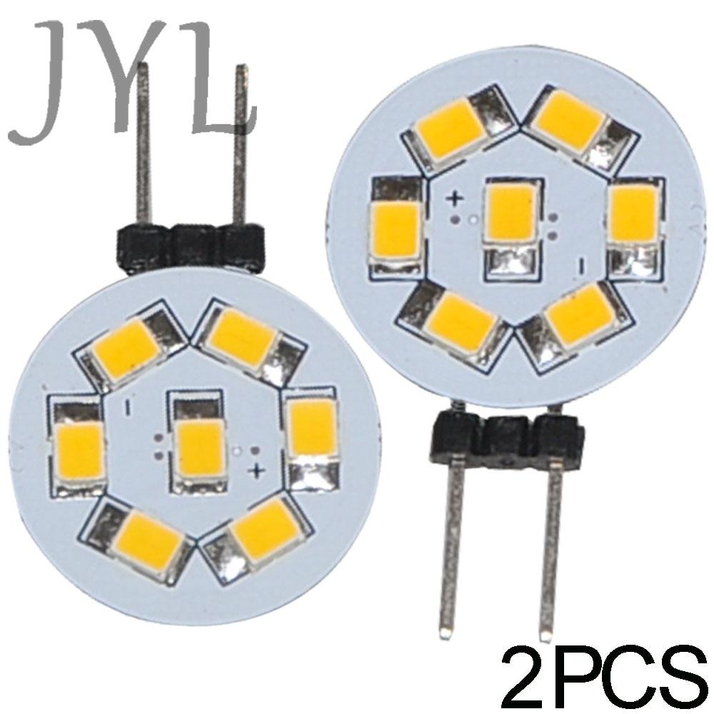JYL 2pcs 7 LED 2835 SMD G4 LED Lamp Spot Light Bulbs Lighting DC 24V 1W 135-155LM Warm White / White Room Cabinet Marine Camper