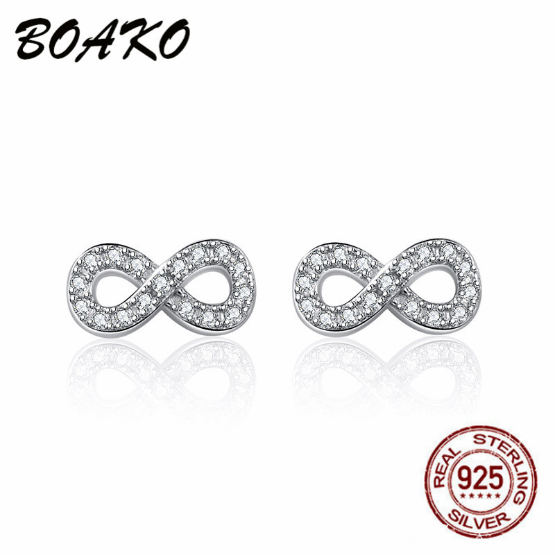 BOAKO 2019 New Simple Infinity Stud Earrings for Women Eternal Love Wedding Korea 925 Sterling Silver Jewelry