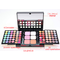 JS 78 Color Makeup Cosmetic Palette Set 48 Eyeshadow 24 Lip Gloss 6 Foundation Face Powder