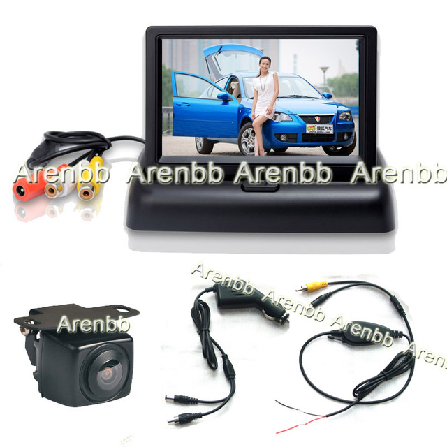 Wireless parking system 4.3Inch Foldable LCD car monitor +car rear view back up ccd hd camera+cigarate lighter adapter AR-768